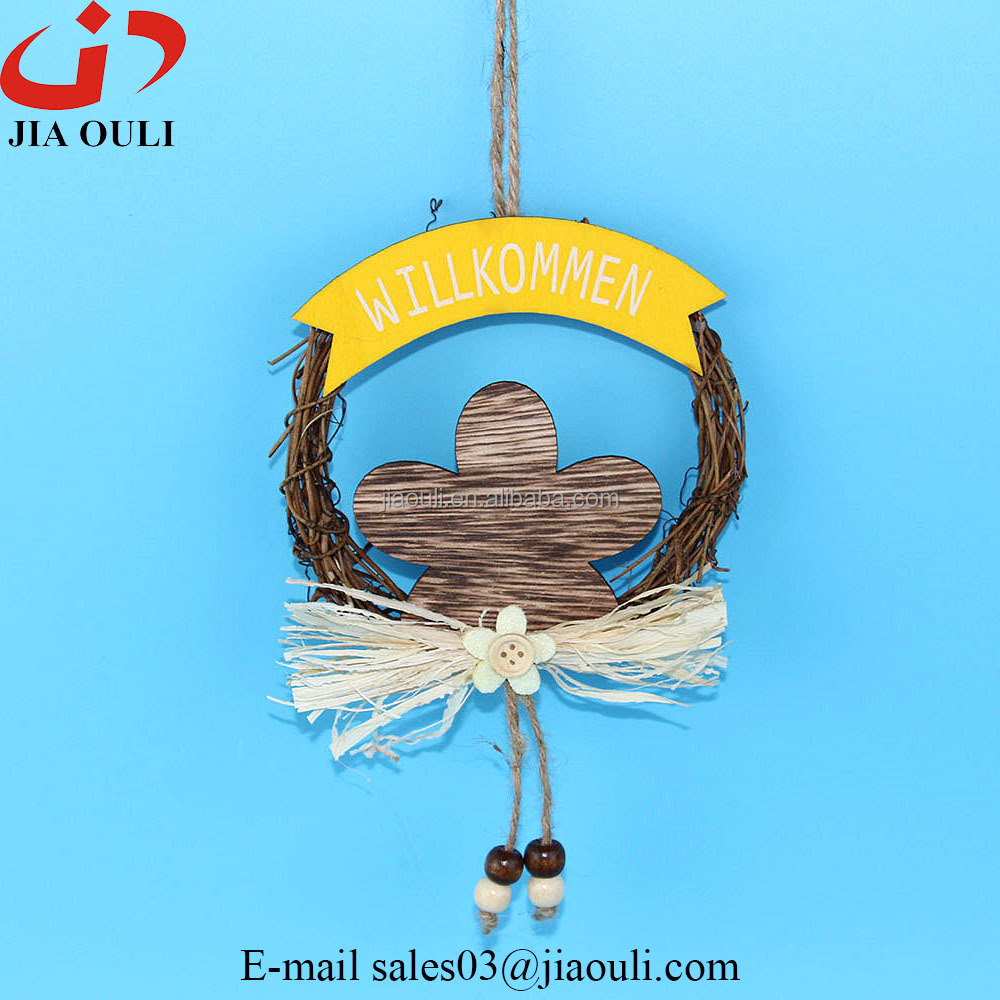 Hot sales with wood flower rattan wreath hanger easter decorations