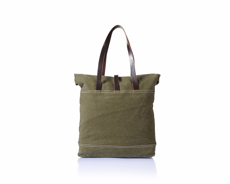 Women blank canvas wholesale tote bags with leather handles , fashionable women canvas handbag for shopping and daily use