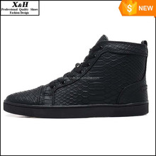 Size 36-46 Men & Women Black Snake Leather Fashion High Top Red Bottom Casual Shoes,Unisex Luxury Brand Spring/Autumn Flat Shoes
