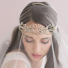 New Design Wedding Hair Accessories Handmade Hair Band Jewelry Crystal Beaded Bridal Headpiece for Women