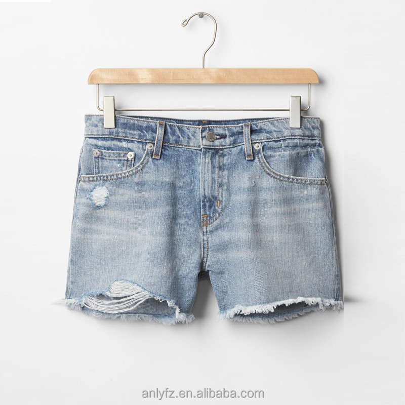 Fashionbale light color washed summer short denim pants for fast delivery girl's latest design short jeans for women