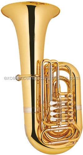 musical instruments 4 Valves Bb Key Gold Lacquer Rotary Tuba