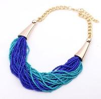 Top Quality 3 Color Beads Chunky Vintage Pendant Statement Necklace Women Necklaces & Pendants Fashion Necklaces for Women