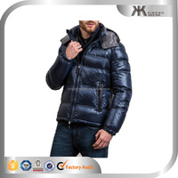 Custom mens heavy padding jacket shiny nylon down jacket