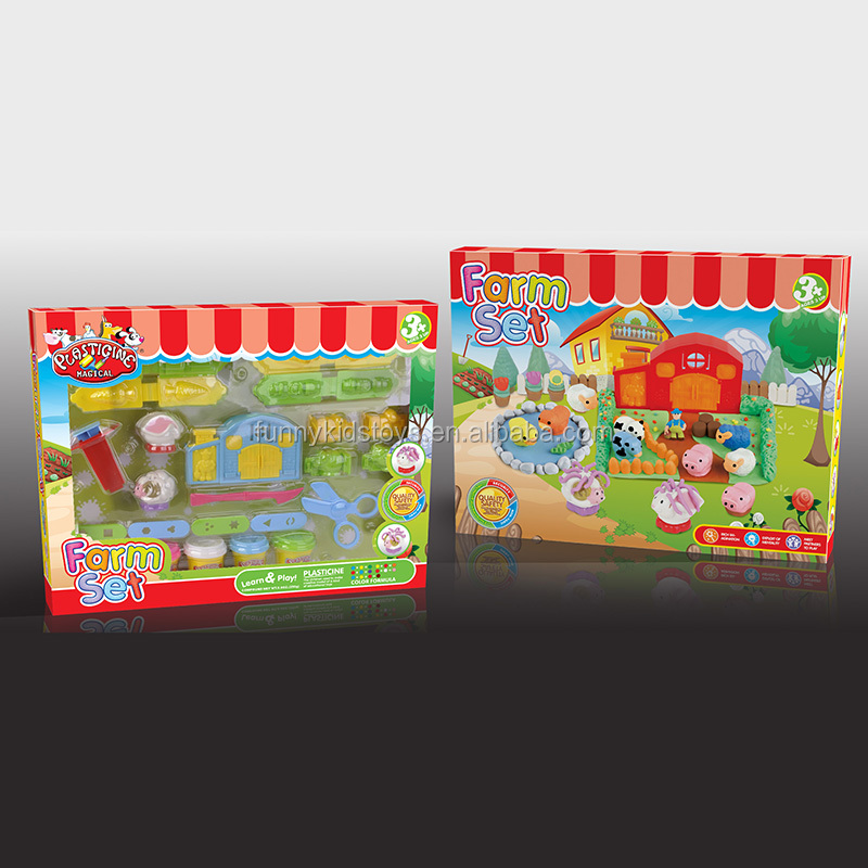 2017 best selling Children Educational toy DIY polymer clay for kids ,farm and garden set
