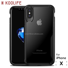 For iPhone x Case TPU and Hard PC Clear Back Cover For iPhone X Cell Phone Case Koolife Shield