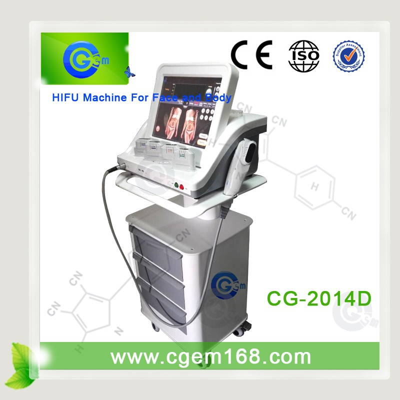 CG-2014D 2015 hifu high intensity focused ultrasound with 5 cartridges for faceand body