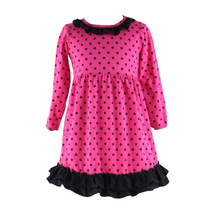 wholesale children's boutique clothing long sleeve dots printed ruffle frocks designs fashion girls dresses