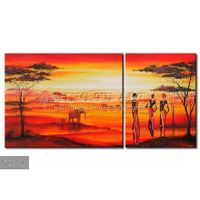 Handmade New Modern Group African landscape oil painting, Contemporary painting African order