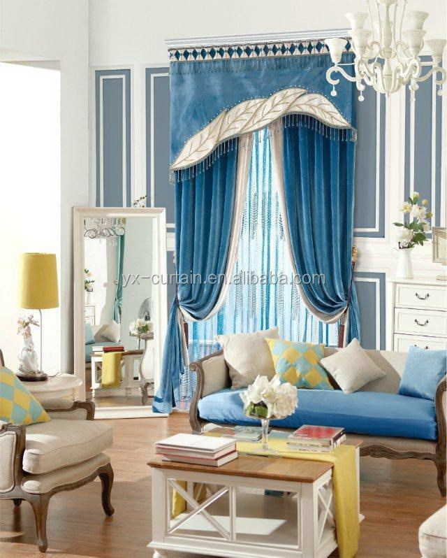 Luxury Blockout Plain Chenille curtain with Embroidery sheet