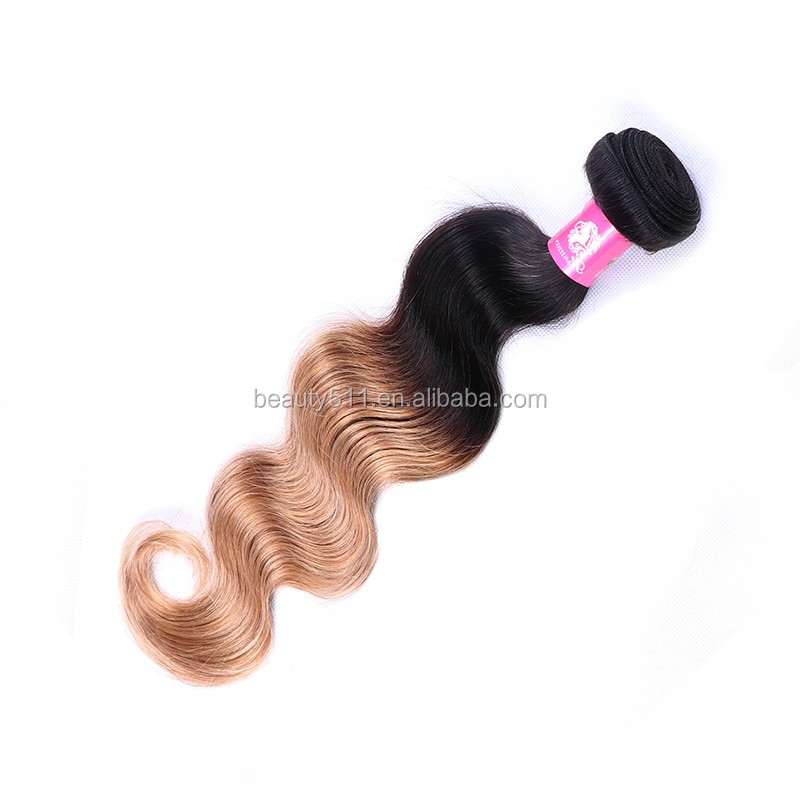 Grade 8A Brazilian Virgin Hair Body Wave Two Tone Ombre Hair Extensions #1b/27 blonde ombre hair HS07