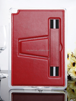 Handmade new product Sewing line Pu leather cases for iPad 2/3/4 stand foldable with shoulder strap