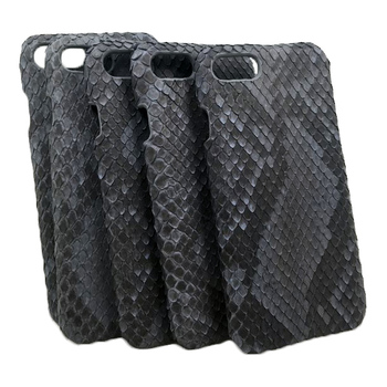 Exotic Leather Python case Matte black belly cut Phone 6/6 Plus cover