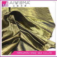 Hangzhou plain dyed/solid color silk gold black lurex/metallic lame chiffon fabric with customizing colors