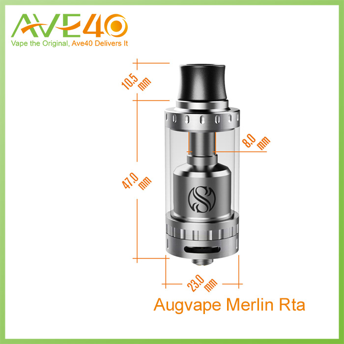Authentic AUGvape Merlin RTA 23mm 4ml Silver Rebuildable Atomizer