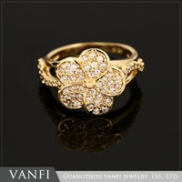 costume jewelry yellow gold flower ring crystal rhinestone resin