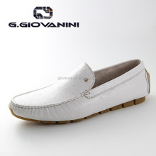 2016 White comfort ostrich leather shoes guangzhou shoes factory
