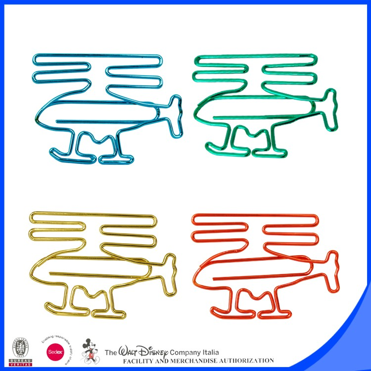 Airplane helicopter metal paper clip