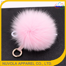 Beautiful accessory colorful bag hat garment use natural fox fur ball key chain