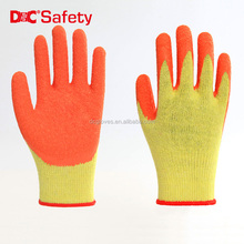 Wholesale 10 guage polycotton liner latex crinkle coated industrial high quality protective gloves