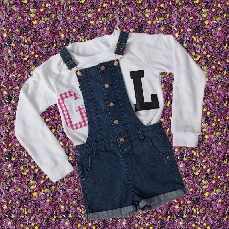 2017 Plain Kids Girt Short Dungarees and Tshirt Sets