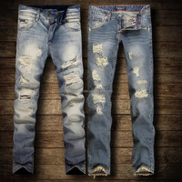 high quality broken hole men's jeans pants, stock jeans,wholesale washed jeans
