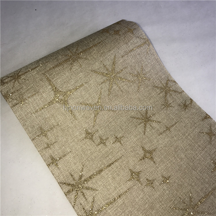 glitter jute like fabric for home party decoration table runner placemat