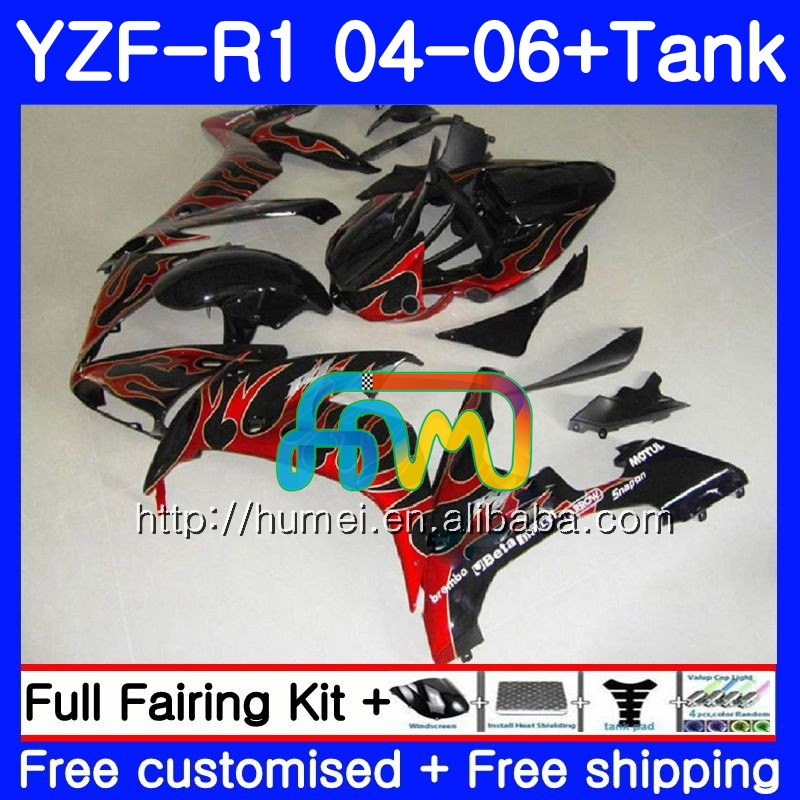 Body kit For YAMAHA YZF 1000 R 1 YZF <strong>R1</strong> <strong>04</strong> 05 06 red flames 95HM51 YZF-1000 YZF-<strong>R1</strong> 2004 2005 2006 YZF1000 YZFR1 <strong>04</strong> 06 <strong>Fairing</strong>