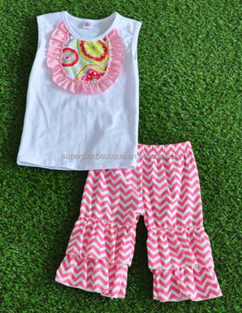 2017 Modern design toddler boutique summer matching baby girls chevron clothing sets with ruffle