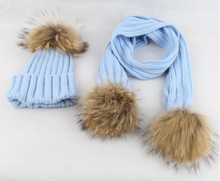 children's raccoon hair line hat rolled in striped knit warm hat scarf set