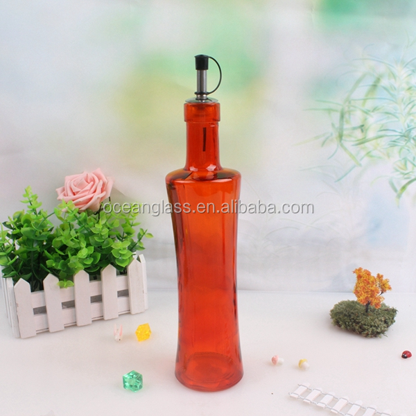 Cooking oil vinegar glass bottle with stainless steel pourer