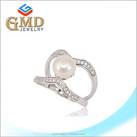 Guangdong new design silver 925 freshwater pearl fashion ring finger rings