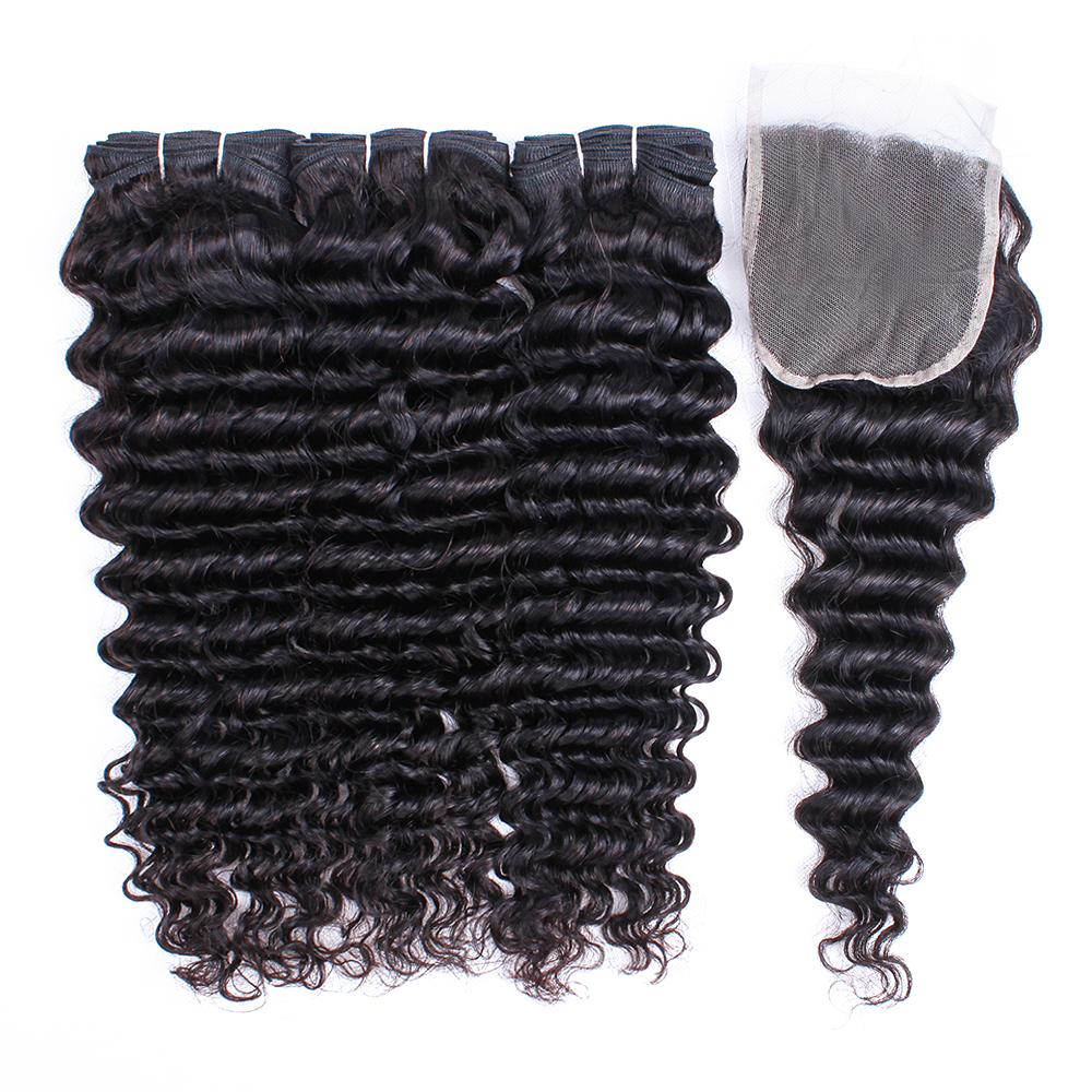 free shipping natural color deep wave <strong>hair</strong> bundles with closure virgin Indian human <strong>hair</strong> weaving