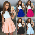 Women Lace Short Sleeve Skirt Dress Ladies Evening Party Causal Mini Dress