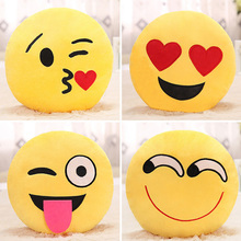 Cute Emoji Smiley Yellow Pillows Cushions Cartoon Face Round Emoji Pillow Decorative Pillows Stuffed Plush Cushions