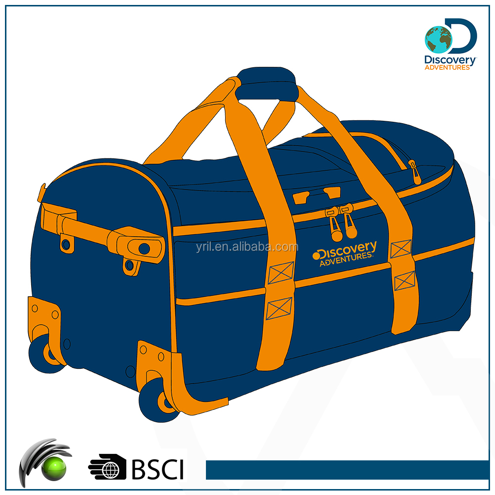 High quality light weight and durable polyester 2 wheels outdoor travel trolley shcool bag wheeled market trolley bag