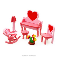 Wholesale Educational Toy 3D Assembling Mini Furniture Dressing Table Wooden Toy DIY Toy