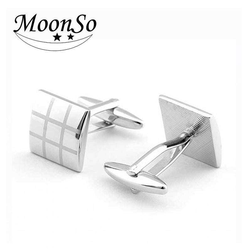 KC2183 MOONSO classical custom metal plaid brass cufflinks for men can design your own logo