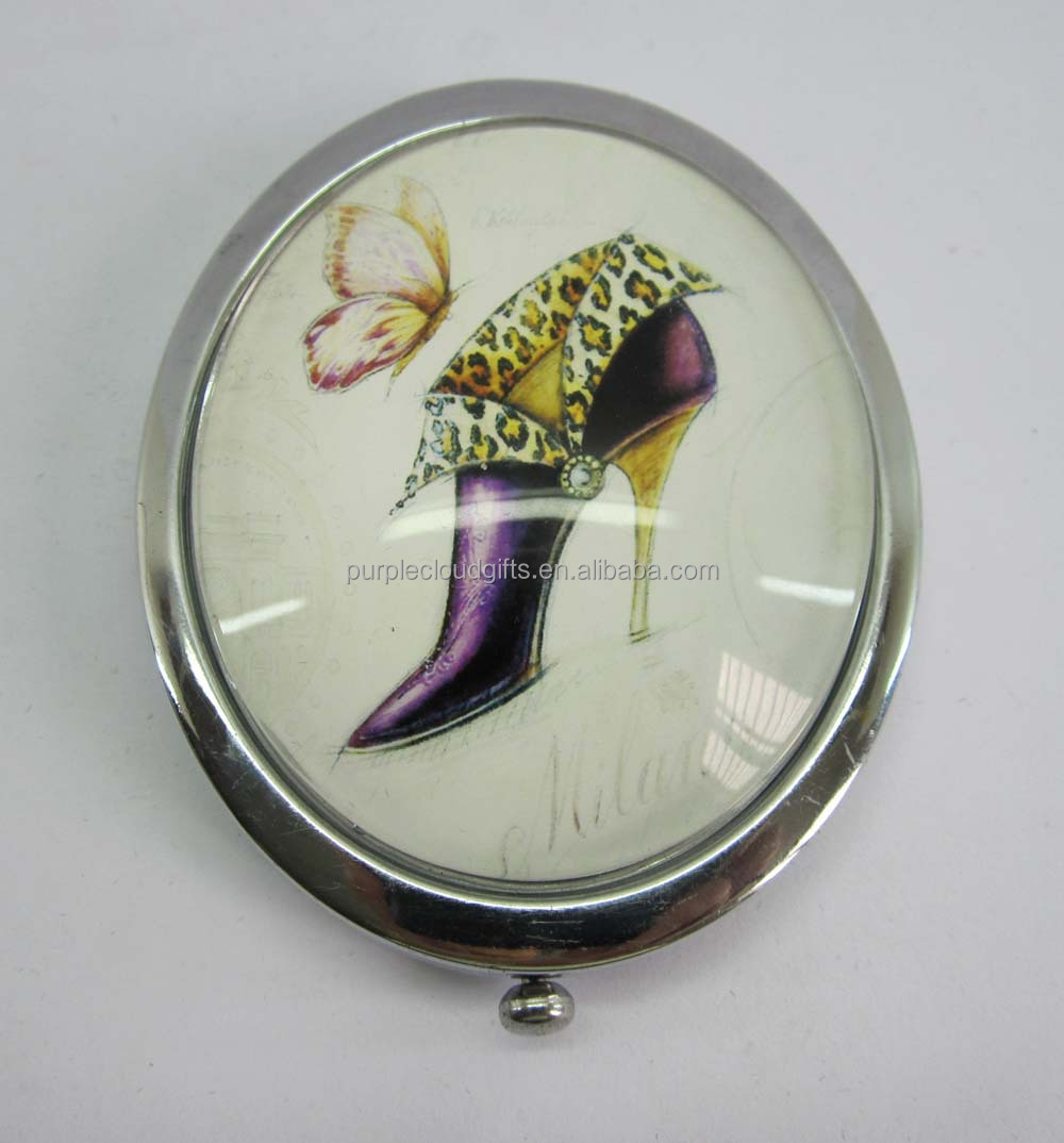 shoes design small oval compact mirror, makeup mirror, pocket mirror