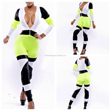 2014 Bestdress Vintage styles Womens ladies jumpsuit yellow white with zip party bodycon club bandage dress with long sleeve