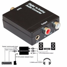 Optical Digital Coaxial Toslink Signal to Analog RCA R/L Audio Converter Adapter with 3.5mm Jack