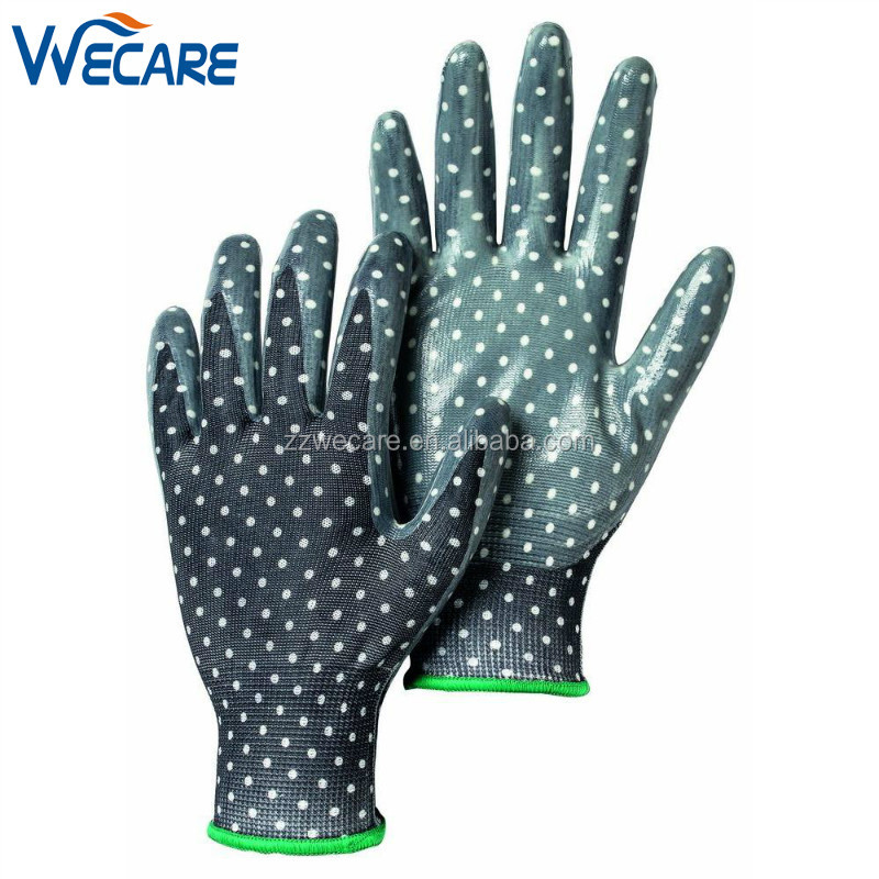 Nylon Printed Pattern General Purpose Nitrile Coated Work Household Gardening Gloves
