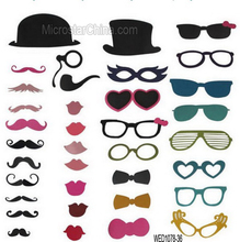 36 pcs Wedding Photo Booth Props Party Decorations Supplies Mask Mustache