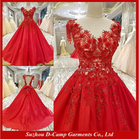 EL104 Illusion neckline keyhole back ball gown red dress evening korean evening dress formal