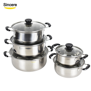 Cheap stainless steel cookware set with glass lids set of 10 piece