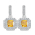 Rinntin Drop Earrings Dangling 1ct Princess Cut Square Yellow Cubic Zirconia Charm for Women RIE128