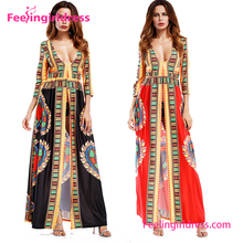 Fashion African Kitenge Dress Designs Long Sleeve Summer Party Wear Women Maxi Dress