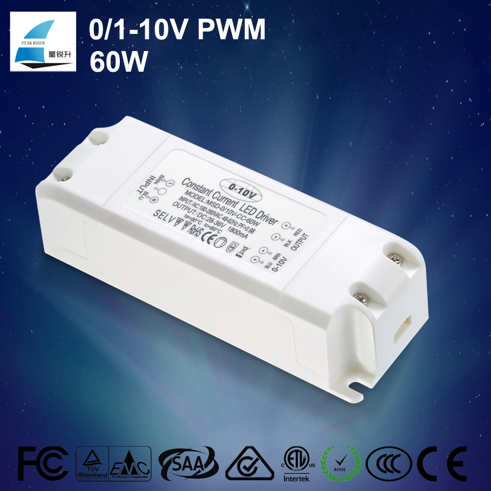 ISO certificate listed PF>0.95 EFF>88% 60W dimmable 0-10V dimming led driver