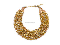 24K gold plated frozen clear glass crystal beaded necklace designs in necklaces