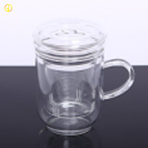 Handblown Heat Proof Pyrex Glass Tea Infuser Cup With Lid